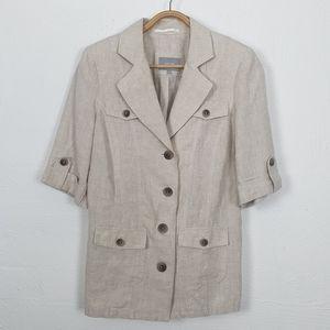 PER UNA Womens Size 12 Jacket Cream Short Sleeve Linen Blend